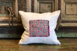 Vintage Mirrorwork Embroidery with Antique Linen Cushion